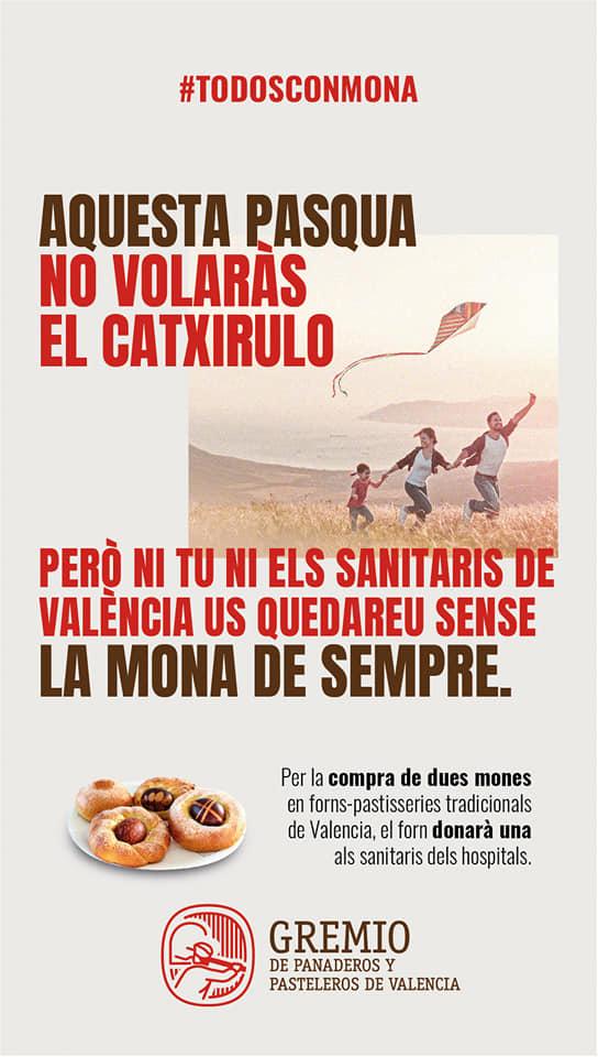 Todos con mona. Campaña solidaria desde el Gremi de forners i pastissers de València.